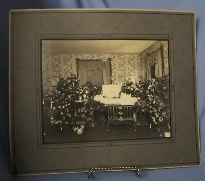 large cabinet card photo post mortem woman in casket funeral home viewing