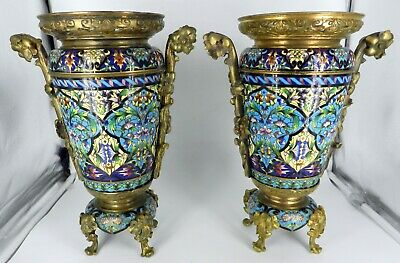 GORGEOUS PAIR 19c CHAMPLEVE BRONZE VASES Tall CHINESE Lotus Flower FEET HANDLES