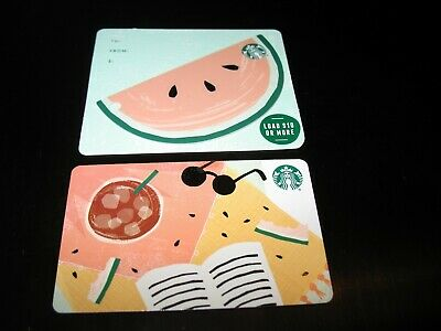 2 Starbucks Cards 2019 - Summer Watermelon Die Cut & Beach Blanket - Brand New !