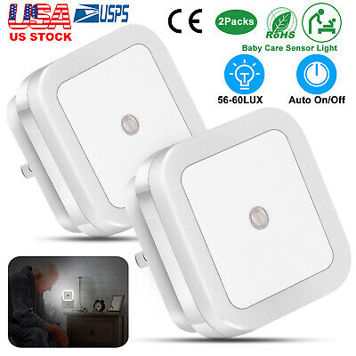 Plug in LED Night Light Wall Lamp w/ Dusk to Dawn Sensor White 0.5w 2/4 Pack
