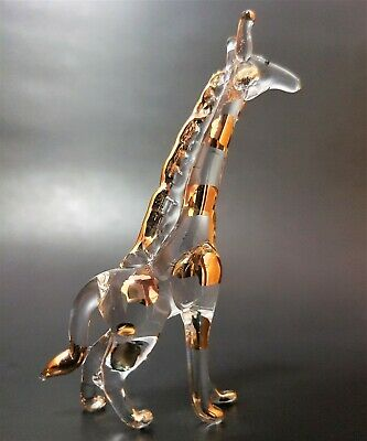Curio Glass GIRAFFE African Animal Clear Glass Gold Painted Glass Ornament Gift