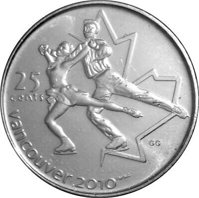 Canada quarter 25 cents coin, Vancouver 2010 Olympic Games, Fugure Skating, 2008