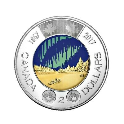Canada 2 Dollars Toonie Coin, Dance of the Spirits, Colored, 2017
