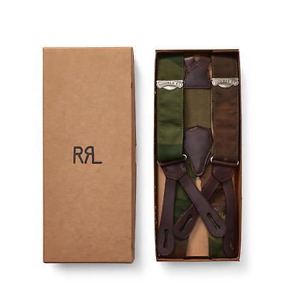 Ralph Lauren RRL Camo Stretch Cotton Leather Braces Suspenders New