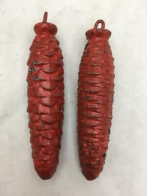 Lot of 2 Vintage Red Cast Iron Cuckoo Clock Weights PAIR 15 Oz ea