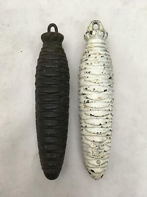 Lot of 2 Vintage Cast Iron Cuckoo Clock Weights Black 14.7 Oz  Whie 14.4 Oz