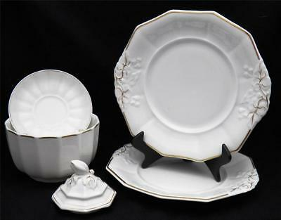 1890's China S Bridgwood & Sons Lot of 5 Serving Bowl ORNATE PLATES Saucer LID