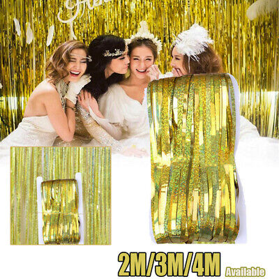 2M-4M Self Adhesive Foil Fringe Tinsel Shimmer Curtain Happy Birthday Party Door