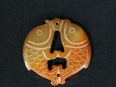 Collection Old Chinese Jade Hand Carving Pisces Fish Pendant Necklace Decoration