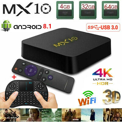 Lot MX10 Android 8.1 Oreo 4+32G/64G Smart TV BOX Quad Core 4K Media HDMI MINI PC