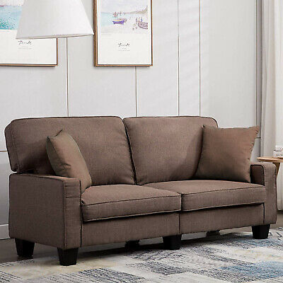 Fabric Sofas Small 2 Seater Sofa Modern Couch Settee with Armrest Wood Frame