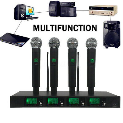 Professional 4 Channel 4 Cordless Handheld Mic UHF Microphone System LCD Kit AU