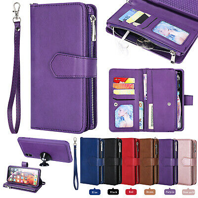 For iPhone 11 XS Max XR X 7 8 6s Plus Leather Removable Zipper Wallet Case Purse