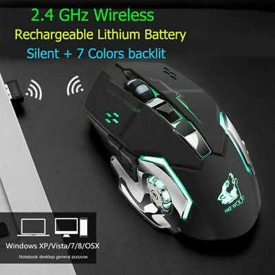 X8 Wireless Rechargeable LED light Optical Backlight Ergonomic Gaming Mouse 2019