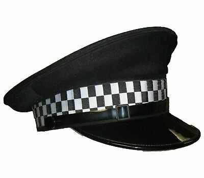 Used Black Flat Peaked Cap With Checkered Tape Fancy Dress Theatre Film And TV