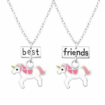 Unicorn Pink Best Friends Necklace Pendant Set Pair - Double Sterling Silver
