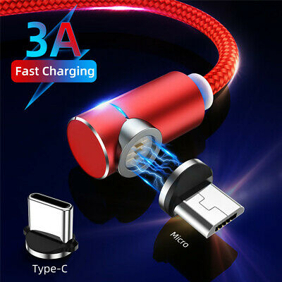 3A 90 Degree Magnetic Micro Usb Type C Fast Charging Data Sync Cable For Android