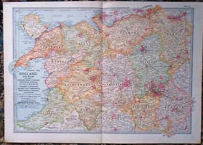 Antique Map ~ ENGLAND & WALES Stafford WARWICK Cheshire CARDIGAN Anglesey ~ 1902