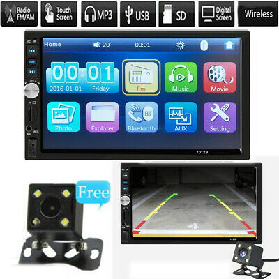 7inch DOUBLE DIN Car MP5 Player BT Tou+ch Screen Stereo Radio +Rearview Camera