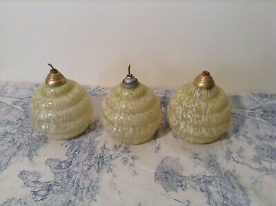 Vintage French Ceiling Lights - Art Deco Style Cream Mottled Shades (3720)