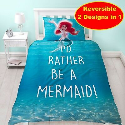 New Disney Little Mermaid Single Duvet Quilt Cover Set Girls Kids Bedroom Gift