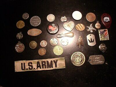 JUNK DRAWER LOT Medals-Tokens - COINS-MILITARY & DODADS & MAVERICKS  30 Item