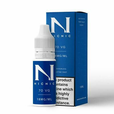 Nicotine Shots By NicNic E Liquid Juice 18mg 70VG/30PG 10ml Bottles Premium-UK