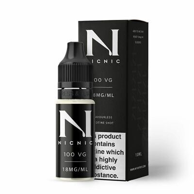 Nicotine Shots by NicNic Vape E Liquid Juice 18mg 100% VG 10ml Bottles