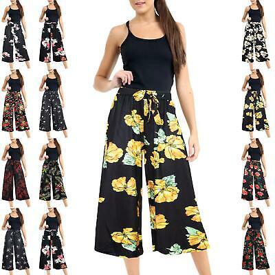 Ladies Womens Floral Printed Palazzo Trousers Summer Wide Leg Baggy Flared Pants
