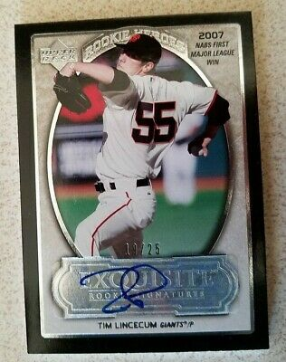2007 UD Exquisite Rookie Heroes Tim Lincecum Signature Autograph /25 NM/MT