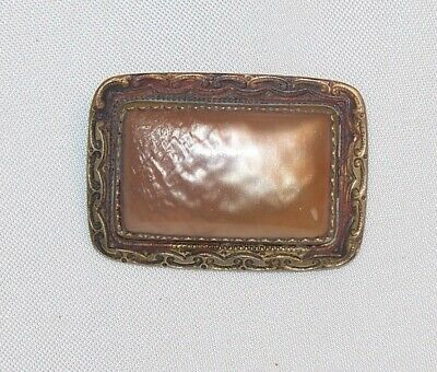 "Vintage 1 1/4 x 7/8"" Early Old Antique Gold Tone Peach Celluloid Brooch Pin M655"