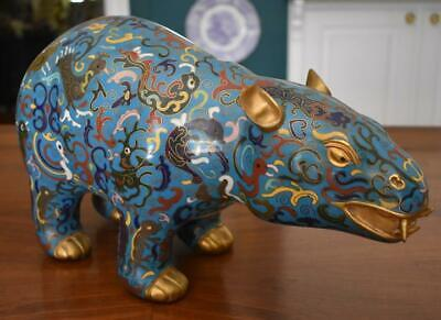 Large & Fine Chinese Late Qing Dynasty Blue Cloisonne Mythical Beast Gilded