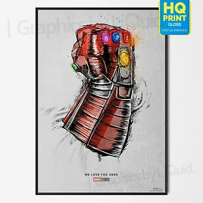 Avengers Endgame Movie Re Release We Love You 3000 Print Poster A4 A3 *LAMINATED