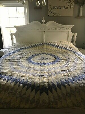 Vintage All Cotton Quilted LONE STAR Yellow &Blue QUILT French Farmhouse Country