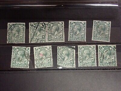 SELECTION OF USED DEFINITIVE STAMPS GEORGE V,4d, WATERMARK 111