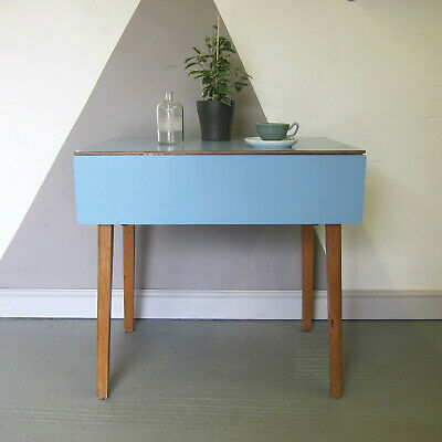 Blue Formica Kitchen Extending Dining Table Mid Century Kitsch 1960s Retro Old