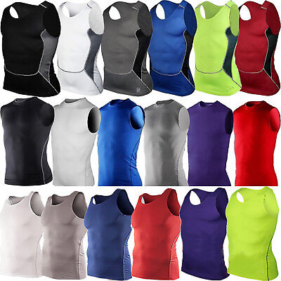 Men Body Armour Compression Base Layers Thermal Under Vest Tank Shirt Top Skins