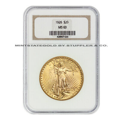 1926 $20 Saint Gaudens NGC MS63 Gold Double Eagle Choice Twenty Dollar Coin
