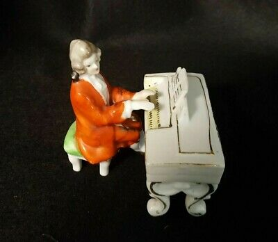 Rare Vintage Old Castle Victorian Pianist Playing Piano Porcelain Figurine (Made