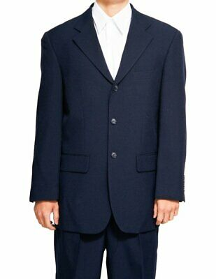 Men's Single Breasted Navy Blue Three Button Dress Suit