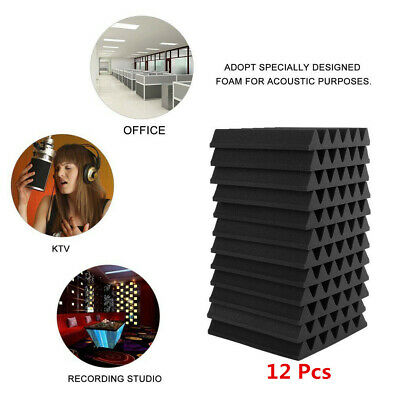 12Pcs Acoustic Panels Tiles Studio Sound Cell Foam Proofing Insulation Sound UK