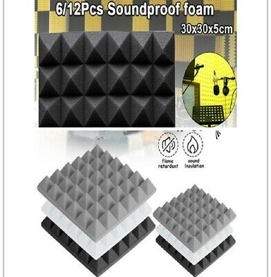 12pcs Absorption Sponge Drum Room Pyramid Sound Absorbing Soundproofing Foam UK