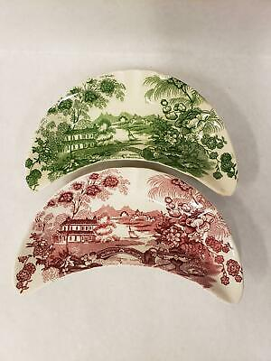 Set of 2 Tonquin Crescent Bone Dishes by Royal Staffordshire & Royal Crownford