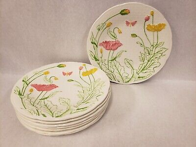 """Set of 8 GIEN France Butterfly and Yellow Pink Poppies Salad Dessert Plates 8"""""""