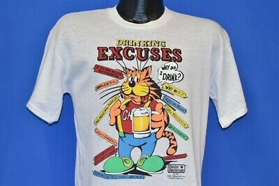 b242a82a vintage 80s DRINKING EXCUSES SHIRT CHESTER CHESTERFIELD BEER FUNNY CAT t- shirt M