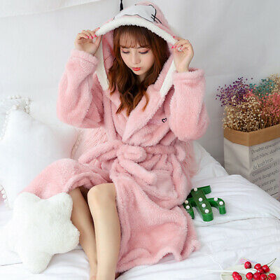 Women Hooded Fleece Bathrobe Warm Nightwear Winter Pajamas Cute Rabbit Bath Robe