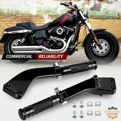 PASSENGER FOOT PEGS w/ Brackets CNC Black for Harley Dyna Wide Glide 2006-2017