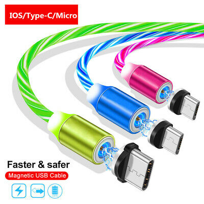 LED Flowing Light Up Magnetic Type-C Micro USB Charging Charger Cable For iPhone