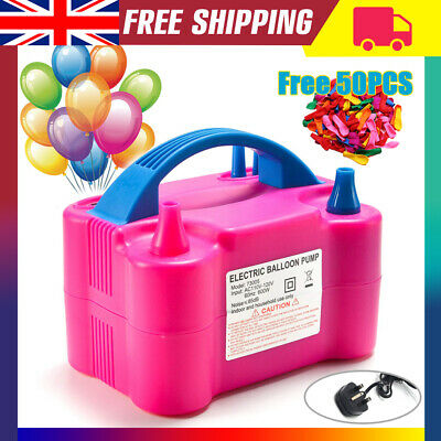 600W Electric Balloon Pump Inflator Air Blower Two Nozzle Party Portable