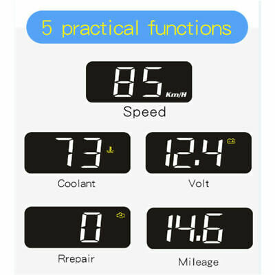 HUD Car Head Up Display OBD2 EOBD Speedometer Voltage Water temperature Warm New